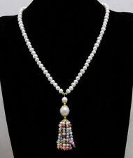 6-7mm White Round Natural Pearl 20'' necklace & multicolor Pearl pendant-nec6439