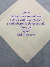 Husband Groom Wedding Hankies Handkerchief EMBROIDERED Special DAY personalised