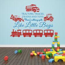 Kids Playroom Romovable Wall Sticker Trains Trucks and Toys Boy Baby Vinyl Decor