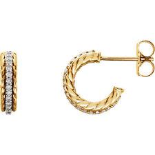 Genuine 1/5 ctw Diamonds Rope Style Hoop Stud Earrings 14K. Yellow or White Gold