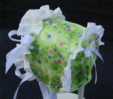 Green Floral Print with White Ruffle & White Satin Ribbon Bows Summer Bonnet
