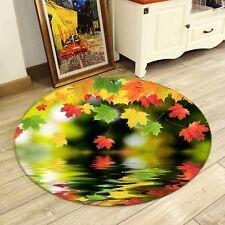 3D Colorful Leaves 028 Non Slip Rug Mat Room Mat Round Quality Elegant Carpet AU