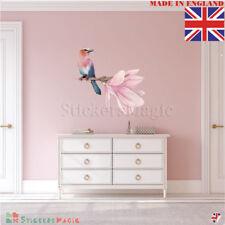 Exotique Fleur Autocollants Muraux Rose Oiseau Mural Art Chambre Décor Amovible Décalques
