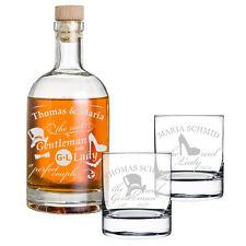 3-teiliges Geschenk-Set mit Whiskyflasche und 2x Gläser inkl. Gravur