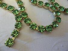 6mm Peridot Green Rhinestone Chain - Brass Setting - 29SS Large Czech Crystals