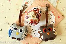 Mini OWL Keychain shabby chic pretty cute colorful little Birds fabric bag charm