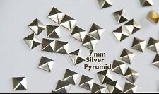 100pc -  7mm Silver Flat Back Pyramid Studs - Hotfix  Iron On Glue On - FlatBack