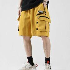 Men Hip-hop Street Sport Cotton Cargo Short Mid Waist Loose Casual Beach GY00