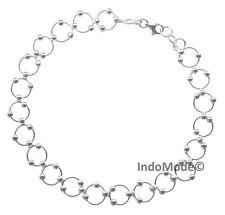Comfortable St. Silver Flexible Hoop and Bead Link Summer Anklet or Bracelet