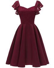 Sexy Women's Vintage Floral Lace Dress Short Coctail Bridesmaid Dresses S-XXL