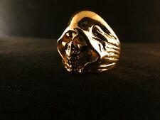 Biker Ring Tot 24 Karat Vergoldet Skull Fashion Dead Dark Edelstahl Gold Gothik