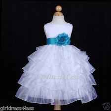WHITE/TURQUOISE BLUE ORGANZA BRIDAL WEDDING FLOWER GIRL DRESS 12M 18M 2 4 6 8 10