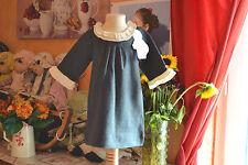 robe lili gaufrette neuve 2 ans 52% soie  grise chine beaux col blanc bas