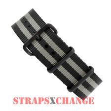 PREMIUM PVD NATO® G10 GREY BLACK 4 RING NYLON military diver's watch strap band