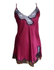 Ladies Short Matt Satin Chemise Claret/Black Lace Sizes 8 - 22