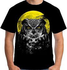 Velocitee mens camiseta Night Owl Pájaro Moonlight Hunter Leonado Barn A19942