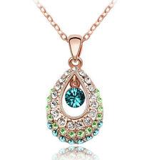Halskette mit Anhänger Kette Silberkette Geschenk Kristall Damen Party Liebe 1A