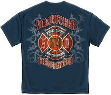 Volunteer FIREFIGHTER T Shirt Fire Rescue Fire Dept FD BROTHERS S-3XL MENS BLUE
