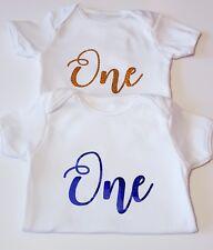 Baby 1st First Birthday Bodysuit Romper Vest Cake Smash Outfit Party Boy Girl UK