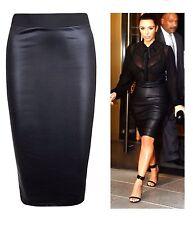 New Women's Celeb Inspired Kim Wet Look Faux Leather Tube Pencil Skirt UK 8-26