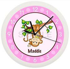 MONKEY NURSERY WALL CLOCK IN A TREE PINK DECOR BEDROOM CHILDREN GIRL BABY SHOWER