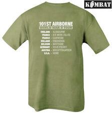 Homme Armée WW2 101 101st Airborne Tour Vert Olive Double Imprimé T-shirt en coton