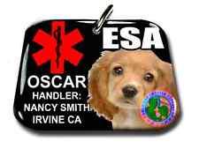 Emotional Support Animal BLACK medical symbol PHOTO ID tag custom badge&tag
