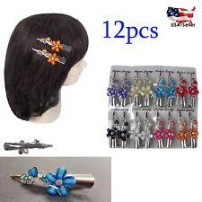 "12pc Flower Heart Hair Clip Clamp Metal Alligator Claw Crystal Rhinestone Lot 3"""
