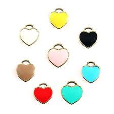 10PC Gold Plated Love Heart Enamel Charm Pendant For DIY Bracelet/Necklace Craft