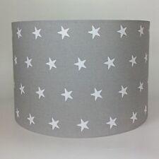 Kinder Babys weiß Sterne auf Grauer Stoff Licht Schatten Decke oder Lampe Schirm