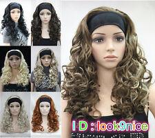 Moda Donna Cosplay Parrucca 7 Colori Lungo Ricci giornaliero 3/4 Mezza Parrucca con Fascia per capelli