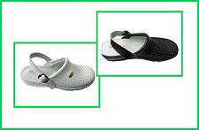 Ladies DEK Nurse Hospital Kitchen Coated Leather Wedge Clog Mule Slipper Shoe