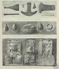ANC. PAPIER PREHISTOIRE ARCHEOLOGIE  MEXIQUE  1897 RARE