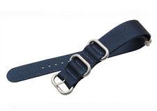 Blue 5 Ring PVD HEAVY Ballistic Nylon Zulu G10 Military Watch Band Strap