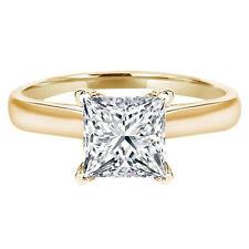 Ring 14k Yellow Gold Moissanite 1.5ct Princess Designer Statement Bridal Classic