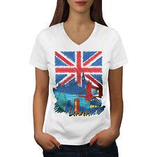 Wellcoda England London Flag Womens V-Neck T-shirt, Capital Graphic Design Tee