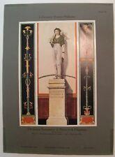 Stampa antica DECORAZIONI STATUA a POMPEI Napoli 1914