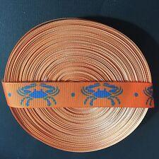 "7/8"" Orange Maryland Blue Crab Grosgrain Ribbon by the Yard (USA SELLER!)"