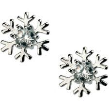 18ct white gold plated cute snowflake christmas kids stud earrings jewellery