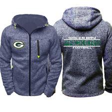 Green Bay Packers Hoodie Warm Jacket Sporty Sweatshirt Full-Zip Coat Autumn Tops