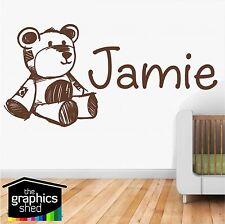 nursery wall art teddy bear cute named sticker decal kids room  boys girls