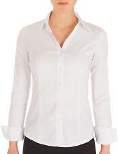 Damen Hemdbluse Slim Fit Bluse Hemd Stretch tailliert Business langarm Neu