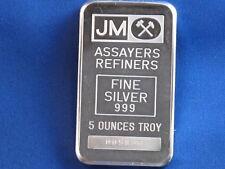 Johnson Matthey .999 Silver 5 Oz Struck Ingot B4318