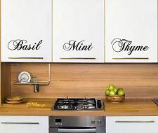 6 x HERB KITCHEN CUPBOARDS VINYL STICKERS WALL ART HOME DIY CS