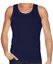 3x Navy Mens Best Quality Cotton Vest .