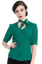SALE VOODOO VIXEN Clara Neck Bow Button Down TPA1834 Green Vintage Retro UK