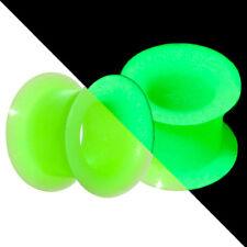 "Green Ear Gauges Tunnels Glow In The Dark Super Thin flexi 2g 0g 00g 7/16"" 1/2"""