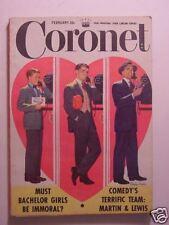 CORONET February 1952 DEAN MARTIN JERRY LEWIS COMEDIANS TEDDY ROOSEVELT +++