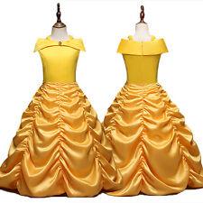 Girls Kid Belle Fancy Dress Disney Beauty And The Beast Cosplay Princess Costume