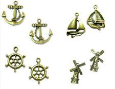 Anhänger Charms Anker Schiff Windmühle Steuerrad bronzefarben Armband Kette DiY